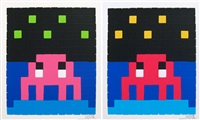 space one (pink) (+ space one [red]; 2 works) by invader